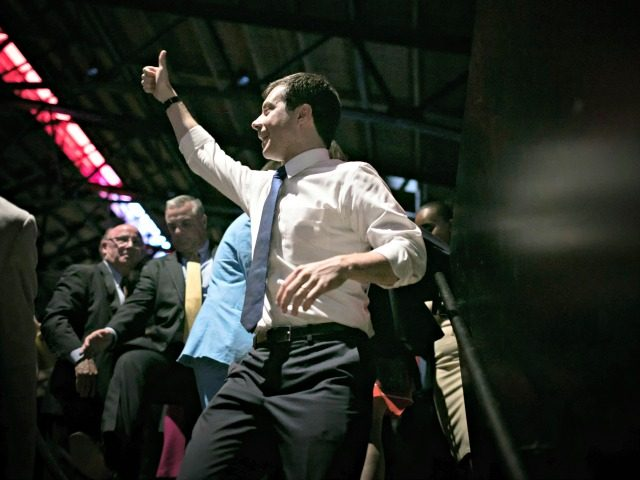 RICHMOND, VIRGINIA - JUNE 15: Democratic presidential candidate and Mayo of South Bend, Indiana, Pete Buttigieg gestures to supporters as he departs the 2019 Blue Commonwealth Gala fundraiser June 15, 2019 in Richmond, Virginia. Nearly 1,800 attended the event featuring Buttigieg and Democratic presidential candidate Sen. Amy Klobuchar (D-MN). (Photo …