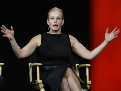 LAS VEGAS, NV - JANUARY 06: Comedian and television host Chelsea Handler speaks during a keynote address by Netflix CEO Reed Hastings at CES 2016 at The Venetian Las Vegas on January 6, 2016 in Las Vegas, Nevada. CES, the world's largest annual consumer technology trade show, runs through January …