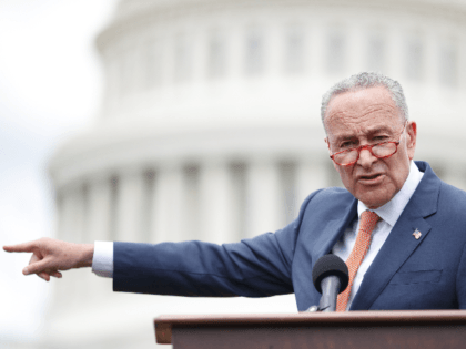 Senate Minority Leader Chuck Schumer (D-N.Y.) delivers remarks during a press conference with Democratic Lawmakers on gun violence along the east front of the U.S. Capitol on June 20, 2019 in Washington, DC. Republicans have blocked the Universal Background Checks bill in the Senate and Democrats are demanding a vote …