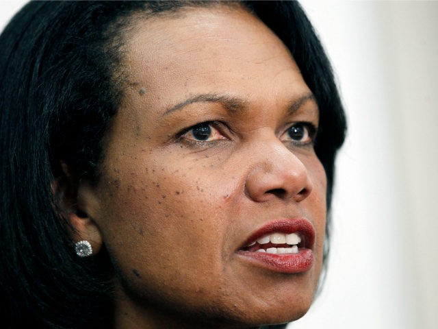 Former Secretary of State Condoleezza Rice answers questions from reporters about the issues she discussed with business students during a private presentation to them at Mississippi College in Clinton, Miss., Tuesday, April 17, 2012. Rice is the keynote speaker at the school's spring scholarship banquet. (AP Photo/Rogelio V. Solis)
