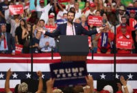 ORLANDO, FLORIDA - JUNE 18: Donald Trump Jr. speaks to the crowd before his father United States President Donald Trump arrives on stage to announce his candidacy for a second presidential term at the Amway Center on June 18th in Orlando, Florida, President Trump is set to run against a …