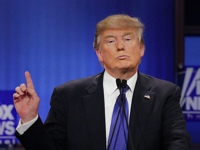 DETROIT, MI - MARCH 03: Republican presidential candidate Donald Trump participates in a debate sponsored by Fox News at the Fox Theatre on March 3, 2016 in Detroit, Michigan. Voters in Michigan will go to the polls March 8 for the State's primary. (Photo by Chip Somodevilla/Getty Images)