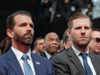 US businessmen and sons of the US president Donald Trump Jr. (L) and Eric Trump attend a French-US ceremony at the Normandy American Cemetery and Memorial in Colleville-sur-Mer, Normandy, northwestern France, on June 6, 2019, as part of D-Day commemorations marking the 75th anniversary of the World War II Allied …