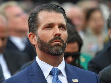 US businessman and son of the US president Donald Trump Jr attends a French-US ceremony at the Normandy American Cemetery and Memorial in Colleville-sur-Mer, Normandy, northwestern France, on June 6, 2019, as part of D-Day commemorations marking the 75th anniversary of the World War II Allied landings in Normandy. (Photo …