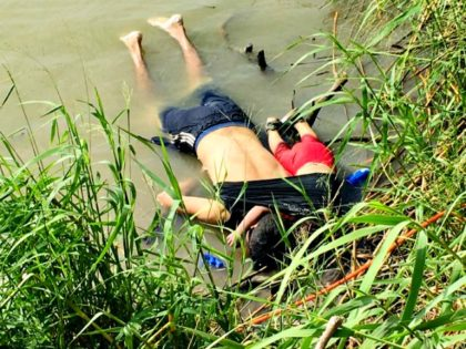 The bodies of Salvadoran migrant Oscar Alberto Martínez Ramírez and his nearly 2-year-old daughter Valeria lie on the bank of the Rio Grande in Matamoros, Mexico, Monday, June 24, 2019, after they drowned trying to cross the river to Brownsville, Texas. Martinez' wife, Tania told Mexican authorities she watched her …