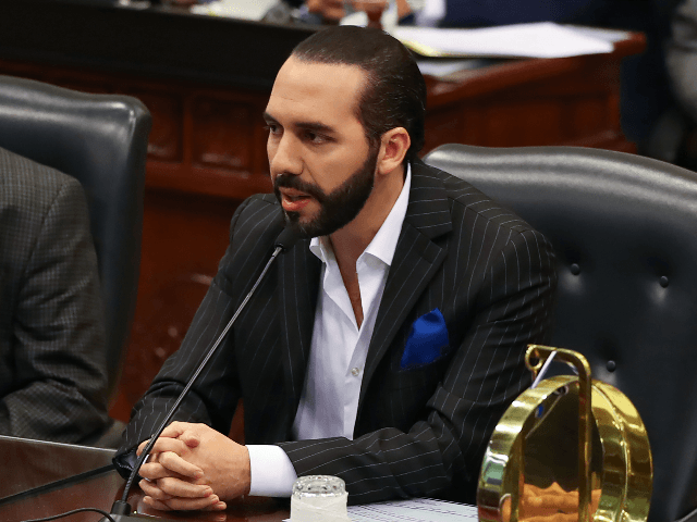 Salvadoran President Nayib Bukele, speaks asking for permission to leave the country in official trips during an ordinary session at the National Assembly on San Salvador, on June 3, 2019. (Photo by Oscar Rivera / AFP) (Photo credit should read OSCAR RIVERA/AFP/Getty Images)