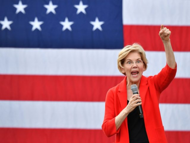 Democratic presidential candidate Elizabeth Warren gestures as she speaks during a campaign stop at George Mason University in Fairfax, Virginia on May 16, 2019. (Photo by MANDEL NGAN / AFP) (Photo credit should read MANDEL NGAN/AFP/Getty Images)
