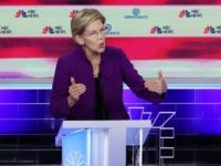 MIAMI, FLORIDA - JUNE 26: Sen. Elizabeth Warren (D-MA) and former Texas congressman Beto O'Rourke take part in the first night of the Democratic presidential debate on June 26, 2019 in Miami, Florida. A field of 20 Democratic presidential candidates was split into two groups of 10 for the first …