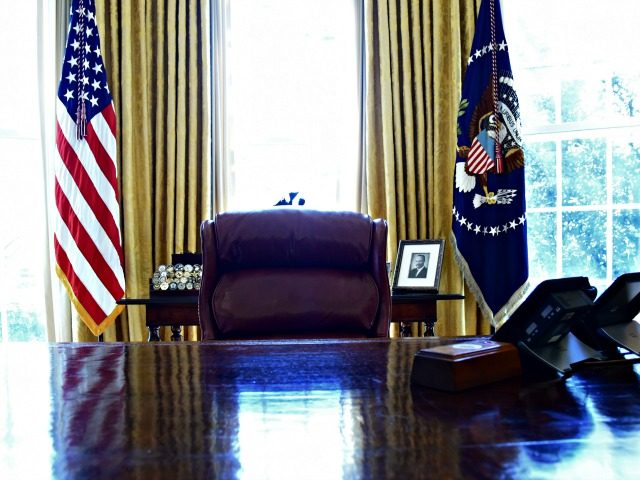 WASHINGTON, DC - MARCH 5: (AFP OUT) The Resolute desk as U.S. President Donald Trump (R) and Israel Prime Minister Benjamin Netanyahu meet in the Oval Office of the White House March 5, 2018 in Washington, DC. The prime minister is on an official visit to the US until the …