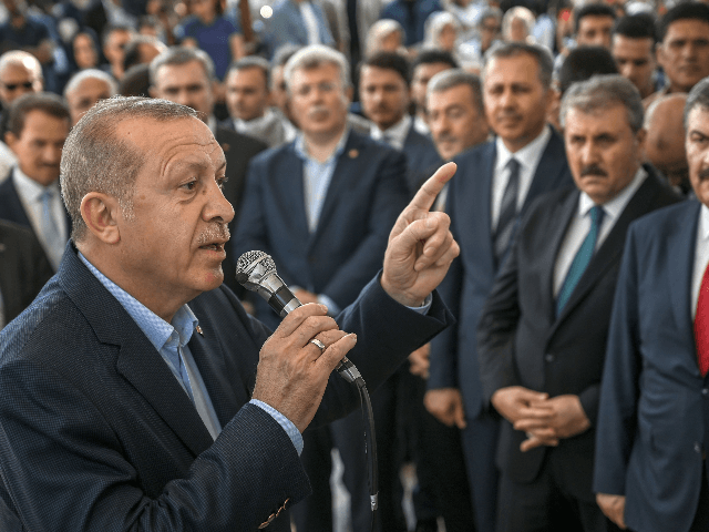 Turkish President Recep Tayyip Erdogan speaks during a symbolic funeral cerenomy for the former Egyptian President the day after his death in Cairo, on June 18, 2019 at Fatih Mosque in Istanbul. - Thousands joined in prayer in Istanbul on June 18, 2019, for former Egyptian president Mohamed Morsi who …