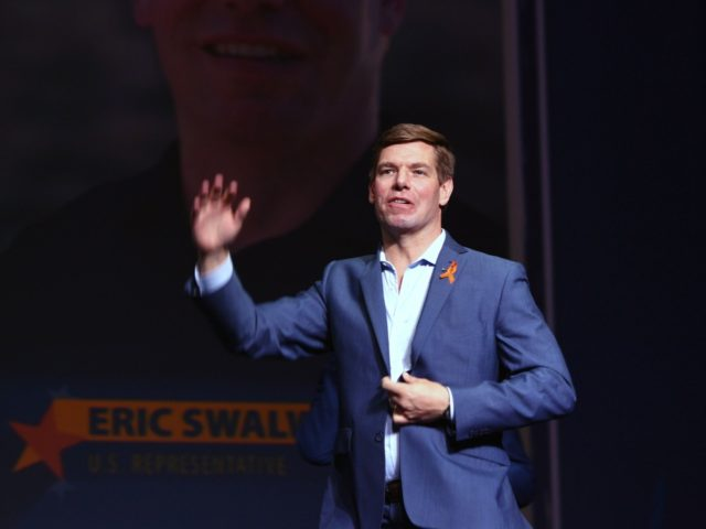 Democratic presidential candidate Eric Swalwell speaks during the 2019 California Democratic Party State Convention at Moscone Center in San Francisco, California on June 1, 2019. (Photo by Josh Edelson / AFP) (Photo credit should read JOSH EDELSON/AFP/Getty Images)