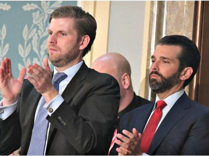 "Eric Trump, left, and Donald Trump Jr., applaud as their father President Donald Trump delivers the State of the Union address on February 5. Fox News host Brian Kilmeade said Trump Jr. would have ""a great political future"" if he ran for office. SAUL LOEB/AFP/GETTY IMAGES"