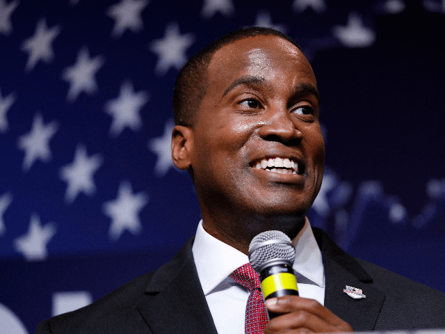 John James, Michigan GOP Senate candidate, speaks at an election night event after winning his primary election at his business, James Group International August 7, 2018 in Detroit, Michigan. James, who has President Donald Trump's endorsement, will face Democrat incumbent Senator Debbie Stabenow (D-MI) in November. (Photo by Bill Pugliano/Getty …