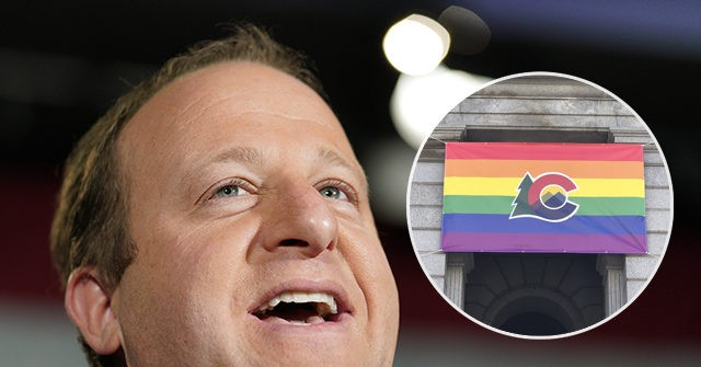 photo image Colorado Gov. Jared Polis Displays Pride Flag Outside State Capitol