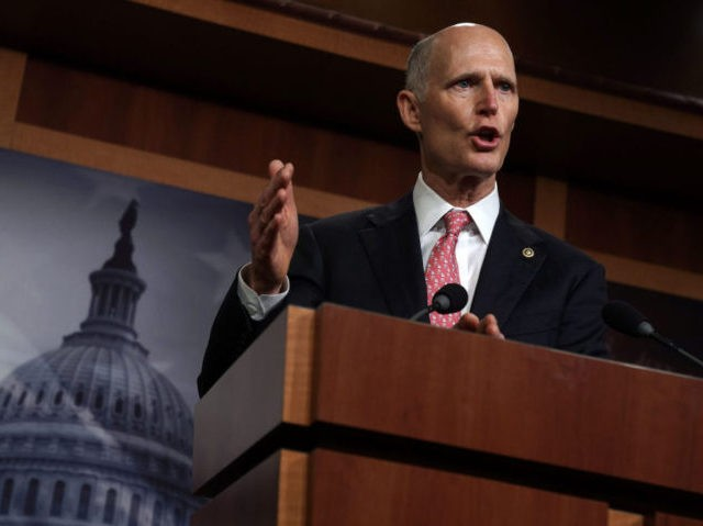 WASHINGTON, DC - JANUARY 17: U.S. Sen. Rick Scott (R-FL) speaks during a news conference at the U.S. Capitol January 17, 2019 in Washington, DC. Sen. Scott held the news conference to discuss the partial government shutdown. (Photo by Alex Wong/Getty Images)