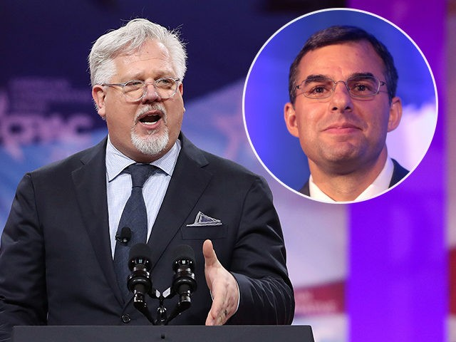 (INSET: Justin Amash) NATIONAL HARBOR, MARYLAND - MARCH 01: Glenn Beck speaks during CPAC 2019 on March 1, 2019 in National Harbor, Maryland. The American Conservative Union hosts the annual Conservative Political Action Conference to discuss conservative agenda. (Photo by Mark Wilson/Getty Images)