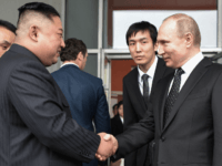 Russian President Vladimir Putin sees North Korean leader Kim Jong Un off following their talks at the Far Eastern Federal University campus on Russky island in the far-eastern Russian port of Vladivostok on April 25, 2019. (Photo by Alexey NIKOLSKY / SPUTNIK / AFP) (Photo credit should read ALEXEY NIKOLSKY/AFP/Getty …