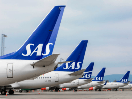 Airplanes of the Scandinavian Airlines' SAS company park on ground at the Gardamoen Airport during a strike of pilots to contest wages and working hours on April 26, 2019 in Oslo, Norway. - Pilots at SAS walked off the job in Sweden, Denmark and Norway, stranding 70,000 travellers as more …