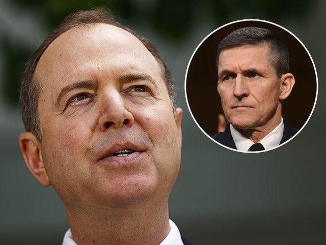 (INSET: Michael Flynn) BURBANK, CALIFORNIA - APRIL 18: Chairman of the House Intelligence Committee Adam Schiff speaks at a press conference discussing today's release of the redacted Mueller report on April 18, 2019 in Burbank, California. Politicians, journalists and citizens alike are reading the highly anticipated report for the first …