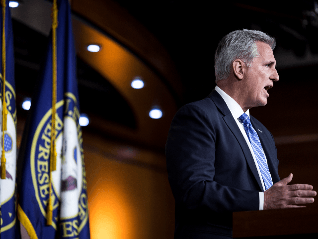 House Minority Leader Kevin McCarthy (R-CA) speaks during a weekly news conference May 16, 2019 on Capitol Hill in Washington, DC. (Photo by Zach Gibson/Getty Images)