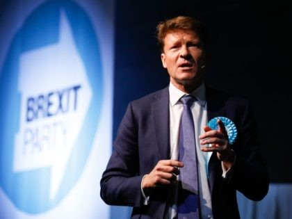 Brexit Party Chairman Richard Tice addresses a European Parliament election campaign rally at Olympia London, west London on May 21, 2019. (Photo by Tolga AKMEN / AFP) (Photo credit should read TOLGA AKMEN/AFP/Getty Images)