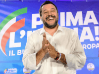 Italian Deputy Prime Minister and Interior Minister Matteo Salvini gestures at the end of a press conference in the Lega headquarters in northern Milan following the results of the European parliamentary elections, on May 27, 2019. - Matteo Salvini's anti-migrant League party won the most votes on May 26 in …
