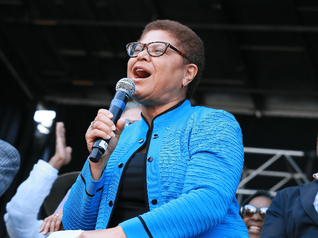 Congresswoman Karen Bass attends the official unveiling of City Of Los Angeles' Obama Boulevard in honor of the 44th President of the United States of America on May 04, 2019 in Los Angeles, California. (Photo by Leon Bennett/Getty Images)