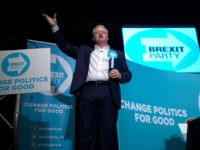 PETERBOROUGH, ENGLAND - JUNE 01: The Brexit Party's Peterborough constituency by-election candidate Mike Greene addresses supporters during a rally at The Broadway Theatre on June 01, 2019 in Peterborough, England. Mike Greene is the first Brexit Party member to take part in a UK parliamentary by-election. The Peterborough by-election takes …