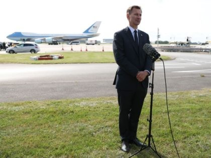 Britain's Foreign Secretary Jeremy Hunt speaks to the media at Stansted Airport, north of London on June 3, 2019, after he was part of the welcome party that greeted US President Donald Trump and US First Lady Melania Trump arriving for a three-day State Visit to the UK. - Britain …