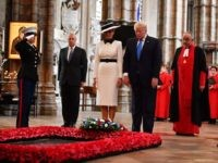 LONDON, ENGLAND - JUNE 03: US President Donald Trump and First Lady Melania Trump, alongside Prince Andrew, Duke of York (L) pay their respects at the Tomb of the Unknown Warrior in Westminster Abbey on June 3, 2019 in London, England. President Trump's three-day state visit will include lunch with …