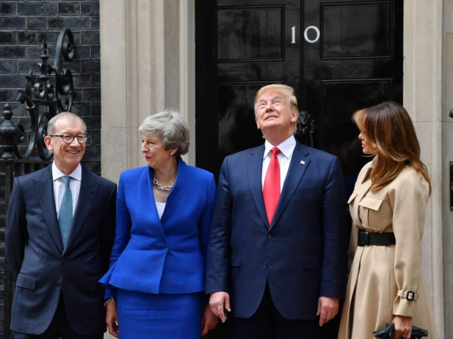 LONDON, ENGLAND - JUNE 04: Prime Minister Theresa May and husband Philip May welcome US President Donald Trump and First Lady Melania Trump to 10 Downing Street, during the second day of his State Visit on June 4, 2019 in London, England. President Trump's three-day state visit began with lunch …