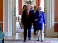 LONDON, ENGLAND - JUNE 04: Prime Minister Theresa May, husband Philip May, US President Donald Trump and First Lady Melania Trump during a visit to 10 Downing Street, during the second day of his State Visit on June 4, 2019 in London, England. President Trump's three-day state visit began with …