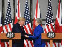 LONDON, ENGLAND - JUNE 04: Prime Minister Theresa May and US President Donald Trump attend a joint press conference at the Foreign & Commonwealth Office during the second day of his State Visit on June 4, 2019 in London, England. President Trump's three-day state visit began with lunch with the …