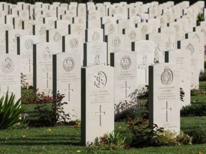 A picture shows graves at the Commonwealth Bayeux War Cemetery in Bayeux, Normandy, north-western France, on June 5, 2019, as part of D-Day commemorations marking the 75th anniversary of the World War II Allied landings in Normandy. (Photo by Ludovic MARIN / AFP) (Photo credit should read LUDOVIC MARIN/AFP/Getty Images)