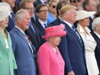 From left: Britain's Prime Minister Theresa May, Britain's Prince Charles, Prince of Wales, Britain's Queen Elizabeth II, US President Donald Trump, US First Lady Melania Trump, Greek President Prokopis Pavlopoulos, attend an event to commemorate the 75th anniversary of the D-Day landings, in Portsmouth, southern England, on June 5, 2019. …