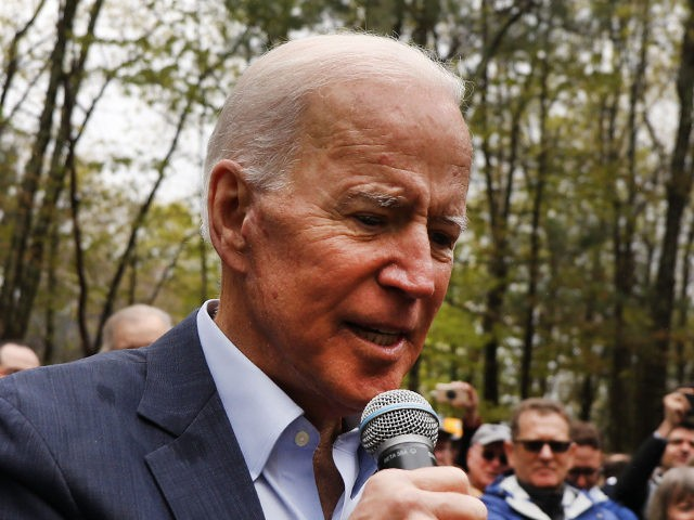 NASHUA, NEW HAMPSHIRE - MAY 14: Former Vice President and Democratic Presidential candidate Joe Biden speaks to voters on May 14, 2019 in Nashua, New Hampshire. The Former Vice President made a number of public appearances over two days in New Hampshire, his first visit to the state as a …