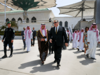 "US Secretary of State Mike Pompeo (C-R) walks with Saudi Minister of State for Foreign Affairs Adel al-Jubeir, at the airport as Pompeo prepares to depart Jeddah on June 24, 2019. - Pompeo traveled to meet with Saudi leaders today to build a ""global coalition"" against the Islamic republic of …"