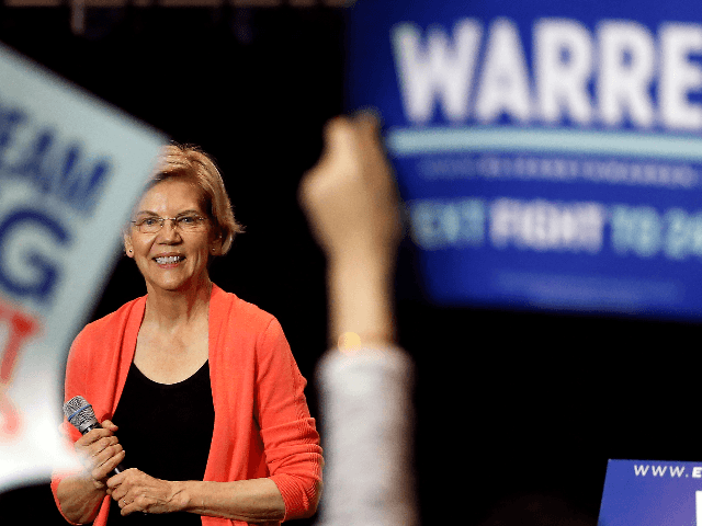 Senator of Massachusetts (D) and Democratic Presidential hopeful Elizabeth Warren smiles as she speaks during a town hall meeting at Florida International University in Miami, Florida on June 25, 2019. (Photo by RHONA WISE / AFP) (Photo credit should read RHONA WISE/AFP/Getty Images)