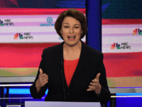 Democratic presidential hopeful US Senator from Minnesota Amy Klobuchar speaks during the first Democratic primary debate of the 2020 presidential campaign season hosted by NBC News at the Adrienne Arsht Center for the Performing Arts in Miami, Florida, June 26, 2019. (Photo by JIM WATSON / AFP) (Photo credit should …