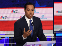 Democratic presidential hopeful former US Secretary of Housing and Urban Development Julian Castro speaks during the first Democratic primary debate of the 2020 presidential campaign season hosted by NBC News at the Adrienne Arsht Center for the Performing Arts in Miami, Florida, June 26, 2019. (Photo by JIM WATSON / …