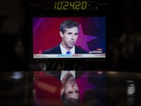 MIAMI, FL - JUNE 26: Democratic presidential candidate and former U.S. Representative Beto ORourke is displayed on a monitor inside the spin room during the first Democratic presidential primary debate for the 2020 election at the Adrienne Arsht Center for the Performing Arts, June 26, 2019 in Miami, Florida. A …