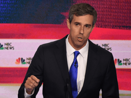 Democratic presidential hopeful former US Representative for Texas' 16th congressional district Beto O'Rourke gestures as he speaks during the first Democratic primary debate of the 2020 presidential campaign season hosted by NBC News at the Adrienne Arsht Center for the Performing Arts in Miami, Florida, June 26, 2019. (Photo by …