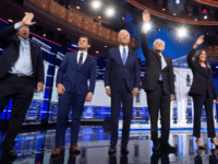 Democratic presidential hopefuls (L-R) US entrepreneur Andrew Yang, Mayor of South Bend, Indiana Pete Buttigieg, Former US Vice President Joseph R. Biden, US Senator for Vermont Bernie Sanders and US Senator for California Kamala Harris arrive on stage for the second Democratic primary debate of the 2020 presidential campaign season …