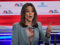 Democratic presidential hopeful US author Marianne Williamson speaks during the second Democratic primary debate of the 2020 presidential campaign season hosted by NBC News at the Adrienne Arsht Center for the Performing Arts in Miami, Florida, June 27, 2019. (Photo by SAUL LOEB / AFP) (Photo credit should read SAUL …