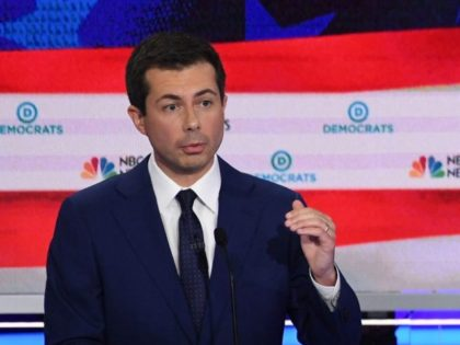 Democratic presidential hopeful Mayor of South Bend, Indiana Pete Buttigieg speaks during the second Democratic primary debate of the 2020 presidential campaign season hosted by NBC News at the Adrienne Arsht Center for the Performing Arts in Miami, Florida, June 27, 2019. (Photo by SAUL LOEB / AFP) / ALTERNATIVE …