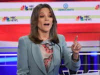 Democratic presidential hopeful US author and writer Marianne Williamson participates in the second Democratic primary debate of the 2020 presidential campaign season hosted by NBC News at the Adrienne Arsht Center for the Performing Arts in Miami, Florida, June 27, 2019. (Photo by SAUL LOEB / AFP) (Photo credit should …
