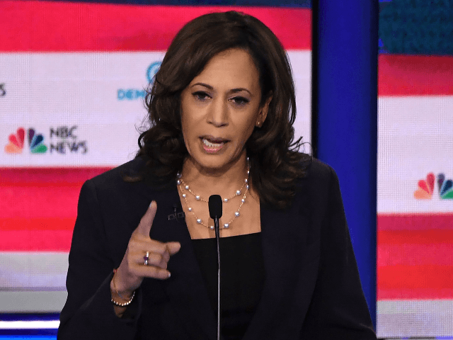 Democratic presidential hopeful US Senator for California Kamala Harris speaks during the second Democratic primary debate of the 2020 presidential campaign season hosted by NBC News at the Adrienne Arsht Center for the Performing Arts in Miami, Florida, June 27, 2019. (Photo by SAUL LOEB / AFP) (Photo credit should …