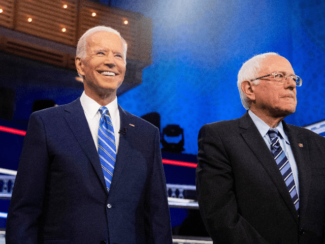 Democratic presidential hopefuls Former US Vice President Joseph R. Biden (L) and US Senator for Vermont Bernie Sanders (R) participate in the second Democratic primary debate of the 2020 presidential campaign season hosted by NBC News at the Adrienne Arsht Center for the Performing Arts in Miami, Florida, June 27, …