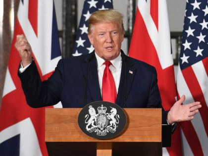 LONDON, ENGLAND - JUNE 04: US President Donald Trump attends a joint press conference with Prime Minister Theresa May at the Foreign & Commonwealth Office during the second day of his State Visit on June 4, 2019 in London, England. President Trump's three-day state visit began with lunch with the …