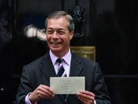 LONDON, ENGLAND - JUNE 07: Nigel Farage, leader of the Brexit Party hands in a letter to the Prime Minister at 10 Downing Street on June 7, 2019 in London, England. Nigel Farage and Richard Tice of The Brexit Party delivered a letter to Prime Minister Theresa May detailing their …